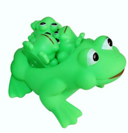 Wholesale Toy Plastic Frog - Baby bath toy squeeze sound Water play rubber green bath toy Frog cartoon pool tub swim animal Bathroom float squeaky YH537