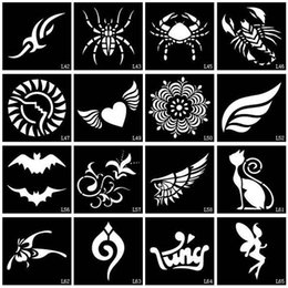 Wholesale Glitters Tattoos Stickers - Wholesale-50pcs lot Small Glitter Tattoo Stencil Drawing Painting, Airbrush Tattoo Stencils For Woman Kids Temporary Henna Tattoo Stickers