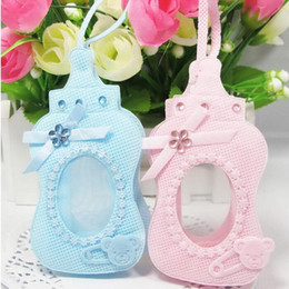 Wholesale Baby Birthday Decor - New Arrival-24pcs Blue Pink bottle style Gift Bags Candy Box with sling For Guest Baby Shower Birthday Party Decor Supplies