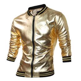 Wholesale Shiny Jackets Men - Spring Autumn Novelty Mens Varsity Jacket Metallic Coated Night Club Wear Shiny Jackets Mandarin Collar Black Gold Silver