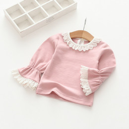 Wholesale Cute Chiffon Tops - Everweekend Girls Lace Tees Lovely Kids Trumpet Sleeve Clothes Cute Baby Candy Color Autumn Tops