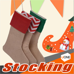 Wholesale Thin Cotton Socks Children - 2017 New high quality canvas Christmas stocking gift bags Xmas stocking Christmas decorative socks bags For kid children