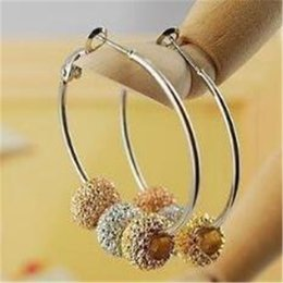 Wholesale Bling Earrings Hoops - Trendy Bling Basketball Wives Hoop Earrings with Gold Silver Plated for Women DHL Shine Powder Beads Earring