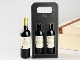 Wholesale Wine Gift Boxes Packaging - Luxury Portable PU Leather Double Hollow-out Red Wine Bottle Tote Bag Packaging Case Gift Storage Boxes With Handle