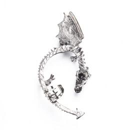 Wholesale dragons earrings - 5pc Newest Fashion jewelry Retro Vintage Bronze Punk Temptation Metal Dragon Bite Ear Cuff Clip Wrap Earring