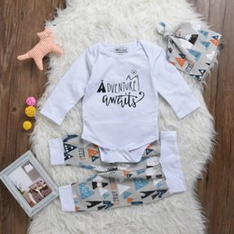 Wholesale Toddler Rompers Hats - Fashion Hot Baby Boy Clothes Kids Letter Adventure Long Sleeve White Rompers Tents Pants Hat Toddler Tracksuit Infant Sport Clothing Suit