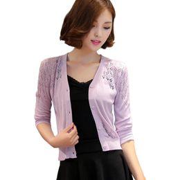 Wholesale Cheap Wholesale Women Coats - Wholesale- 2016 Women's Candy Color Three Quarter Sleeve cardigans Thin Hollow crochet coats cheap cardigan feminino Knitwear Sweater Tops