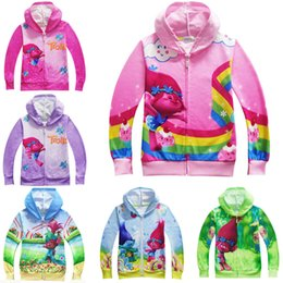 Wholesale B Cardigan - Trolls boys and girls jacket spring and autumn new children cardigan hooded zipper shirt sweater 5 color 5 size style B