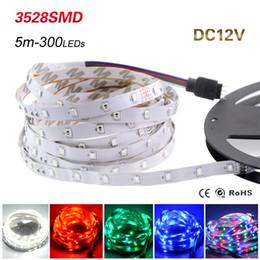Wholesale Lead Tape - LED Strip Light 3528 SMD 5M 300leds 12V Flexible LED Ribbon Diode Tape RGB & Single Colors Ledstrip High Quality Fita LED