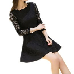 Wholesale Dentelle Dress - 2017 Spring Summer Autumn Women Lace Casual Dress Long Sleeve Korean Party Dresses Vestido White Black Pink Mini Dress Robe Dentelle