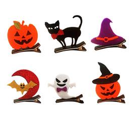 Wholesale Pumpkin Cats - Fashion Cute Glitter Halloween Girls Hairpins Solid Kawaii Felt Hat Ghost Pumpkin Cat Hallowmas Hair Clips Party Headware