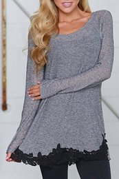 Wholesale Stylish Clothes For Women - Wholesale-Stylish Scoop Neck Black Lace Spliced Hem Loose T-Shirt For Women Fashion Patchwork Women Tops Trendy Cheap Women Clothing