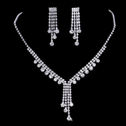 Wholesale Earring Ship - 2017 upscale bridal jewelry silver plated diamond necklace tassel romantic bride necklace earrings accessories, free shipping.