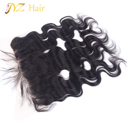 Cuerpo de malasia cierre frontal de onda online-JYZ Lace Frontal Closure With Baby Hair Malaysian Body Wave 13X4 Virgin Human Hair Barato Lace Front Closure Front to Front