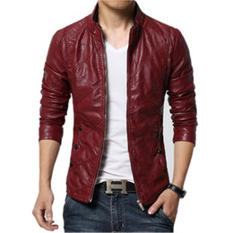 Wholesale Polyester Leather Jacket - New Fashion PU Leather Jacket Men Black Red Brown Solid Mens Faux Fur Coats Trend Slim Fit Youth Motorcycle Suede Jacket Male