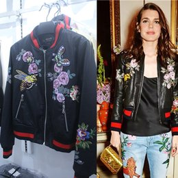 Wholesale Sexy Leather Jackets Fur - 2017 sexy brand women's leather jackets plus size brand designer jackets bee butterfly Embroidery jacket XL