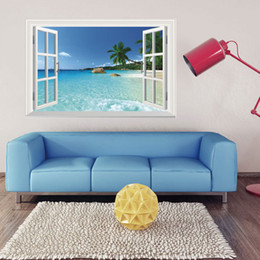 Wholesale animal scenery - WS-001 Huge Removable Beach Sea 3D Window Scenery Wall Sticker Home Decor Decals Mural Free Shipping