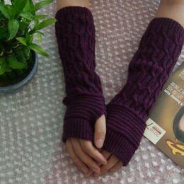 Wholesale Long Arm Warm Gloves - Wholesale- 2017 Winter Women Fingerless Gloves Femme Acrylic knitted Iglove Warm Long Sexy Knitted Arm Warmers Glove New Fashion DP863335