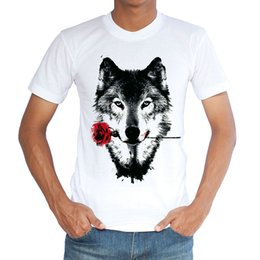 Wholesale Love Roses Clothing - Rose wolf T shirt Special love short sleeve gown Anti wrinkle white tees Leisure printing clothing Quality cotton Tshirt