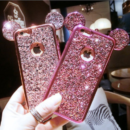 Wholesale Powder X - Fashion Bling Glitter Powder Soft TPU Case With Mouse Ears Sparkling Defender Cases Cover For iPhone X 8 7 6 6S PLUS Samsung S7 edeg S8 Plus