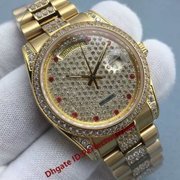 Wholesale Couple Watches Automatic - Diamonds Gold Men Watch Watches Steel Diamond Dial Luxury AAA Mens Womens Ladies Automatic Iced Out Day Date Couples WristWatches