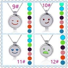 Wholesale Wholesale Imitation Perfumes - New 32 Style Round Emoji luminous Aromatherapy Lockets Pendants Perfume Essential Oil Diffuser Locket Necklace J016