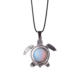 Wholesale Turquoise Turtle Jewelry - New Fashion Cute Turtle Necklace Opal Turquoise Amethyst Natural Stone Sea Turtle Necklaces Animal Pendant Maxi Jewelry