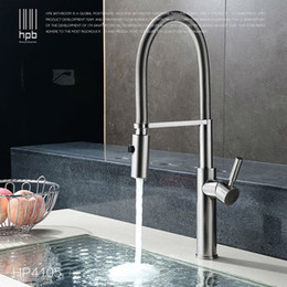 Wholesale Brushed Nickel Pull Out Faucets - Wholesale- HPB Brass Brushed Nickel Pull Out Rotary Kitchen Faucet Mixer Tap for Sinks Single Handle Deck Mounted Hot And Cold Water HP4105