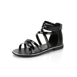 Wholesale Shoe Less Sandals - 2017 Big size 34-39 Cross straps Cut Out Flat Heels Summer Shoes Woman Zip Open Toe Less Platform Women Gladiator Sandals