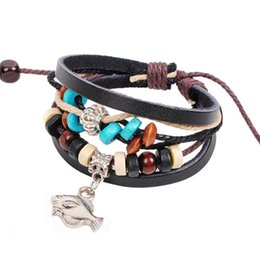 Wholesale Wooden Clasps For Jewelry - Real Leather Rope Bracelet Infinity Fish Pendant Wooden Beads Bracelets Multilayer Wrap Charm Bohemian Bangles Fashion Jewelry for men