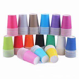 Wholesale Bamboo Drinking Glasses - Wholesale- 100pcs Lot colorful Polka Disposable Paper Cups Kids Boys Birthday Party Drinking Glasses weeding Christmas Supplies