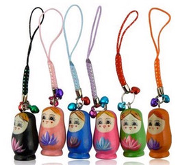 Wholesale Wooden Matryoshka Doll - FreeS hip 50 Pieces Mixed Matryoshka Russia Russian Nesting wood wooden Doll cell phone strap pendant Keychain Bell Kids Christmas Gift