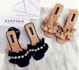 Wholesale Floor Borders - 2017 summer new Women's Cool slippers lotus Swallow bead Thick with pearl Women's sandals High heels slippers
