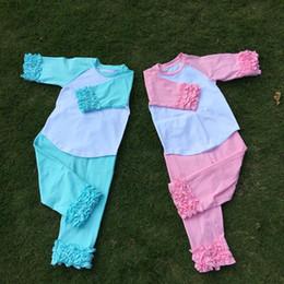 Wholesale Toddler Boys Halloween Shirts - Ruffle Pajamas Suit Cotton Kids Raglan Blanks Toddler Raglan Tee Great Cousin Suit Birthday Shirt DOM106412