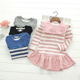 Wholesale Stripe Mini Skirt Dress - Fashion new design Baby Girls autumn princess cotton Dress long sleeve stripe Tutu skirt Kids clothes top quality