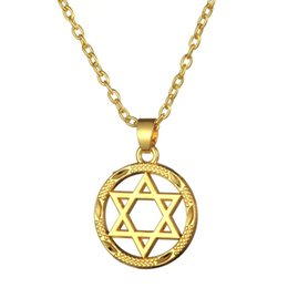 Wholesale Yellow Gold Pendant Circle - Yellow Gold Plated Star Of David Jewish Religious Medal Pendant & Chain Necklace