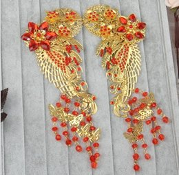 Wholesale Hanfu Clothes - Costume bridal Fengguan headdress tassel inserted comb Hanfu Qipao show Wo clothing Longfeng gown jewelry