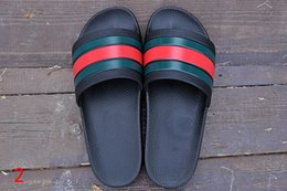 Wholesale Cheapest Leather Slippers - Original Beash Slippers Mens 2017 Summer Outdoor Brand Classic Slide Sandal Cheap Red Green Striped Slippers Soft Leather Slides Scuffs
