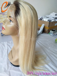 Wholesale Two Tone Blonde Wig - Ombre 4 613 Blonde Lace Front Wig Straight Two tone Glueless Full Lace Wig Remy Human Hair With Baby Hair For Black Women
