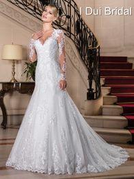 Wholesale Long Dress Pearl Beads - Vestido de Noiva 2017 Sexy Lace Long Sleeve Wedding Dresses China Bridal Gowns Vintage Bohemian Mermaid Wedding Dress Casamento