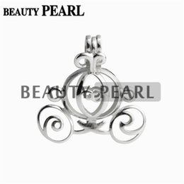 Wholesale Sterling Silver Jewellery Pendants - 5 Pieces Pearl Cage Pumpkin Carriage Locket Wishing Gift 925 Sterling Silver Jewellery Carriage Pendant Mountings