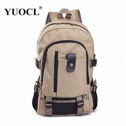 Wholesale Canvas Duffle Backpack - Wholesale- Vintage Large Capacity Backpacks Natural Design Travel Duffle Backpack Casual Canvas Travel Backpack for Men 5 Color