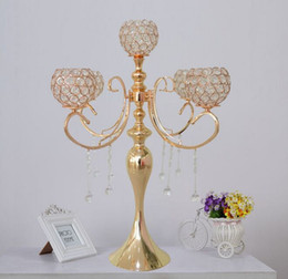 "Wholesale wedding cake crystals - New Gold 5-Arm H56cm 25.6"" tall crystal candelabra wedding table decor candlesticks decorative candle holder event party decoration"