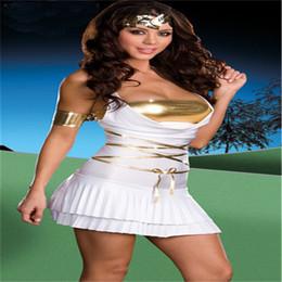 Wholesale Women S Goddess Costume - Halloween costumes sexy underwear sexy oblique evening dress white goddess dress
