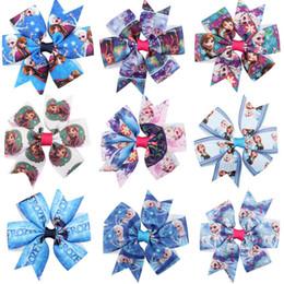 Wholesale Printed Princess Grosgrain Ribbons - Girls princess Grosgrain Ribbon bow hairpins Frozen princess Elsa Anna printing Ribbon bow hair clips kids cartoon princess Barrette