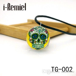 Wholesale Skeleton Necklace Bronze - sugar skull pendant day of the dead necklace antique bronze silver chain sugar skull glass jewelry necklace classic 2017