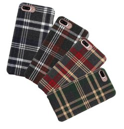 Wholesale British Cloths - Retro British Style Grid Fabric Stripe TPU Ultra-thin Cloth Art Phone soft Case For Iphone 7 6 6S Plus back cover protective