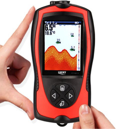 Wholesale water finder - Free Shipping! LUCKY FF1108-1CWLA Rechargeable Wireless Remote Sonar Sensor 45M water depth High Definition LCD Fish Finder