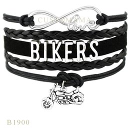 Wholesale Motorcycle Customs - Custom-Infinity Love Bikers Motorcycle Charm Wrap Bracelets Christmas Gifts Women Fashion Bracelets Turquoise Black Blue Leather Bracelets