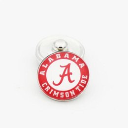 Wholesale Wholesalers Alabama - 2 Styles NCAA Ginger Snap Jewelry Alabama Crimson Tide Snap Button 18mm Glass Collegiate Sport Team Snap Charms Fit For DIY Jewelry